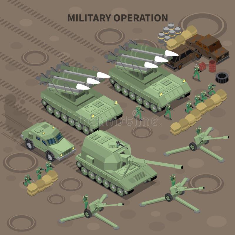 Military Operation Isometric Background. Military operation with use of long range guns and self propelled howitzers isometric background vector illustration stock illustration