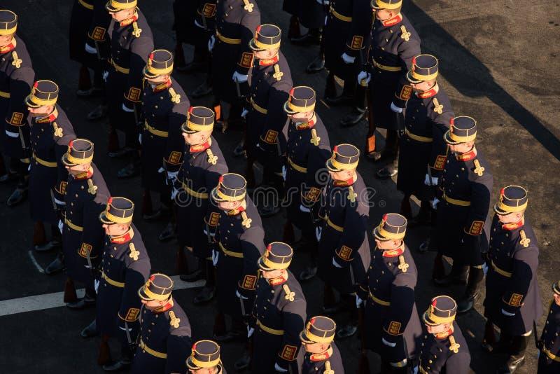 Military parade celebrating Romania`s National Day royalty free stock photography