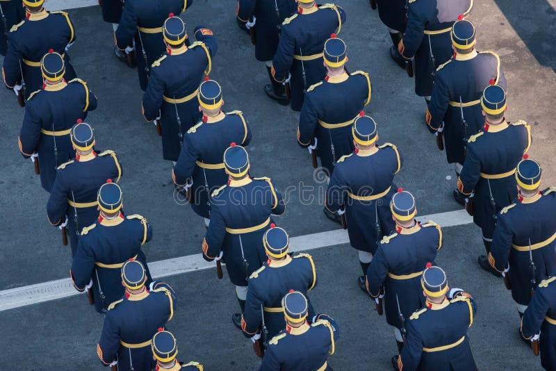 Military parade celebrating Romania`s National Day royalty free stock photo