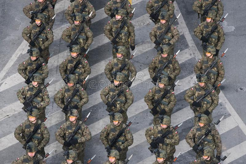 Military parade celebrating Romania`s National Day stock photography