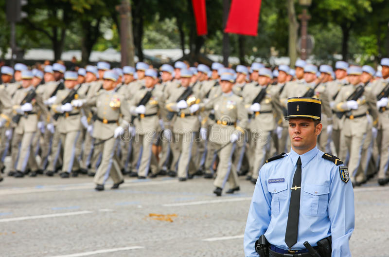 Military parade (Defile) during the ceremonial of french national day, Champs Elysee avenue. royalty free stock images