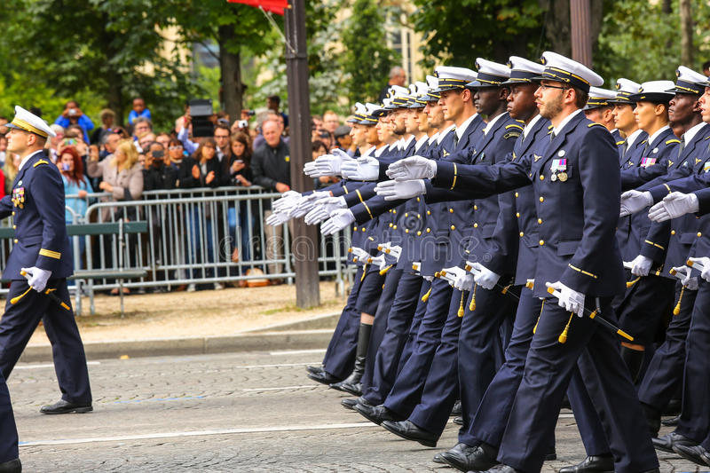 Military parade (Defile) during the ceremonial of french national day, Champs Elysee avenue. stock photos