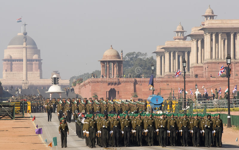 Military parade, Delhi royalty free stock photo