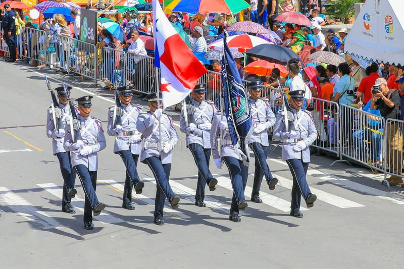 Military parade grey jackets Panama. Boquete Panama November 2017 this is a month of great celebrations in Panama. These soldiers are marching with bayonets in stock photo