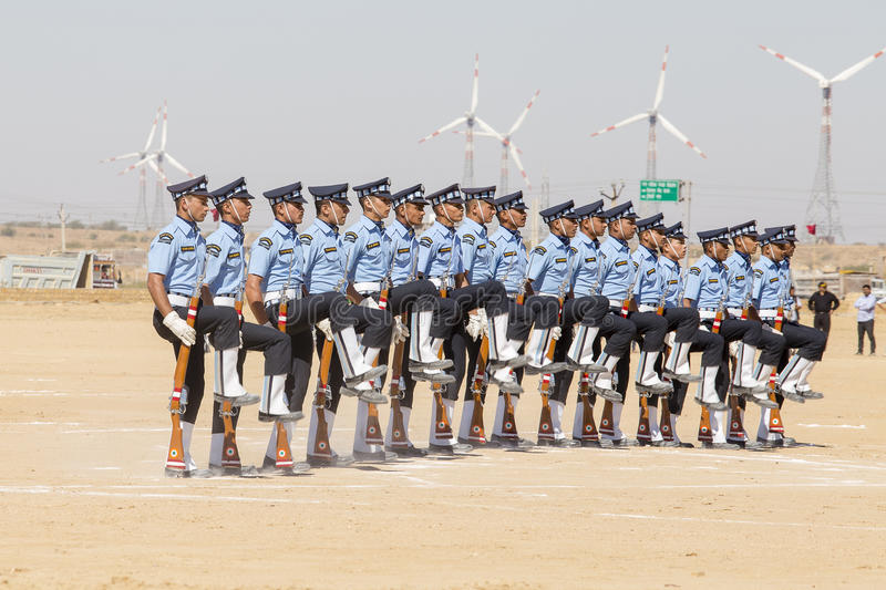 Military parade. Indian Guard show skill with a rifle contest as part of Desert Camel Festival in Jaisalmer, Rajasthan, India stock image
