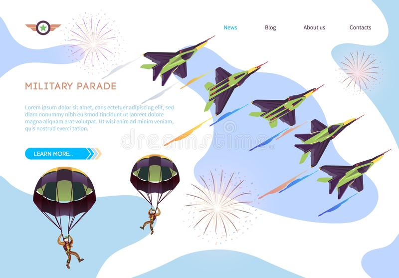 Military Parade Isometric Banner with Air Show. Military Parade Isometric Banner. Army Air Force Show, Aerobatic Flying. Military Fighter Jets and Parachute stock illustration