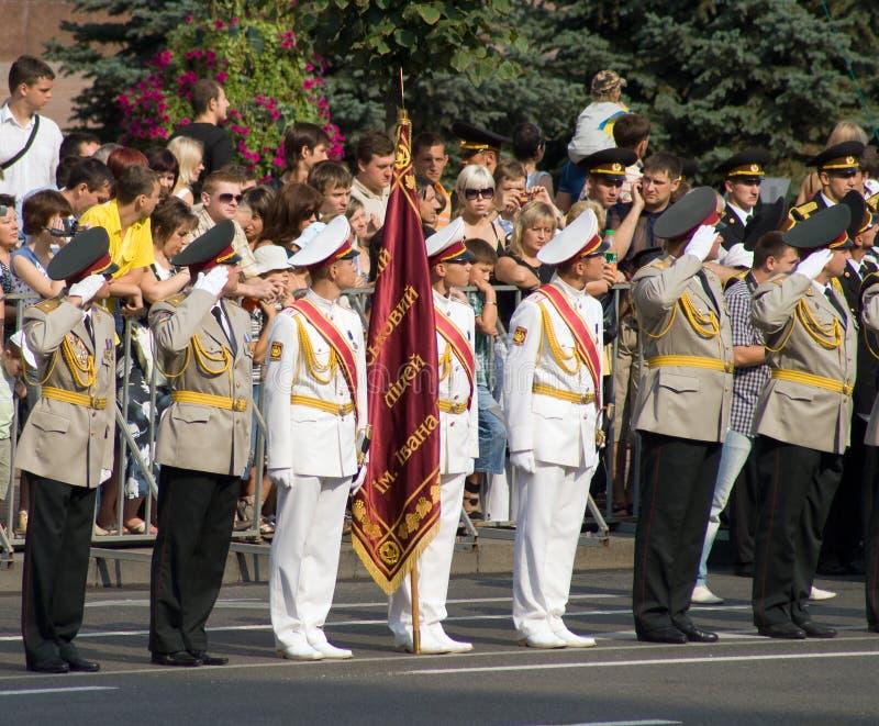 Military parade in Kiev stock image