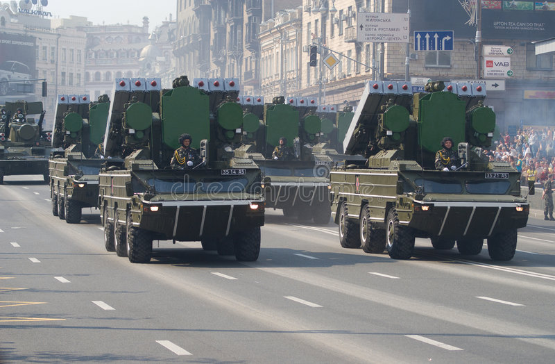 Military parade in Kiev royalty free stock photography