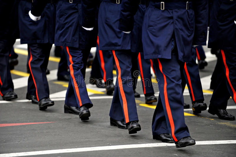 Military Parade. Legs of military personnel are seen during a national day military parade royalty free stock photography