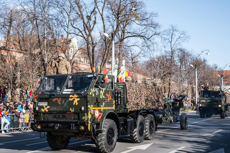Military Parade on National Day of Romania stock photography
