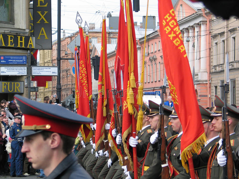 Military parade in Saint-Petersburg, Russia. SAINT-PETERSBURG, RUSSIA - MAY 09: Victory Day celebration on the Nevskiy prospect. Military parade. Taken on May 09 royalty free stock photography
