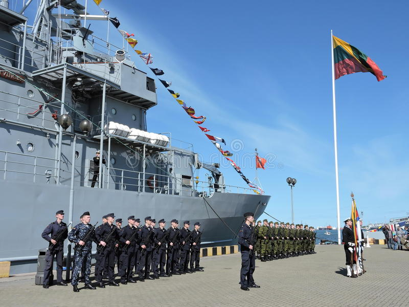 Military parade of seafarers,Lithuania royalty free stock images