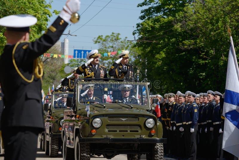 Military parade in Sevastopol, Ukraine. Sevastopol, Ukraine - May 9, 2013: Vice admirals Youry Ilyin, Ukraine, left and Alexander Fedotenkov, Russia, right royalty free stock photo
