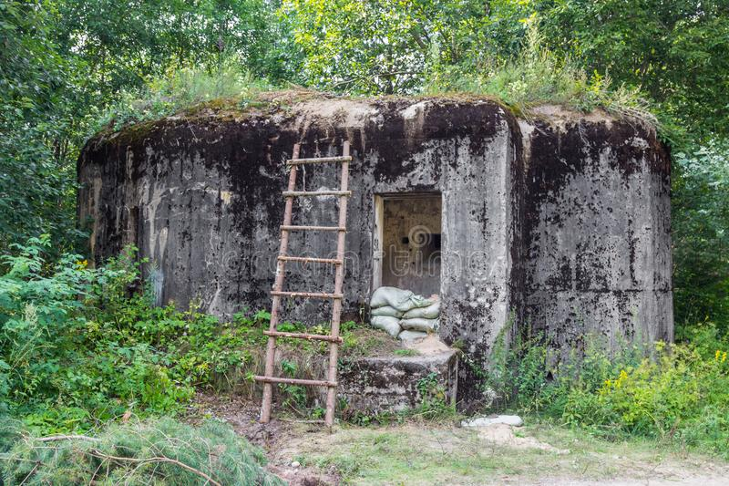 Military pillbox of the times of World War II. Defensive construction, Belarus. stock photos