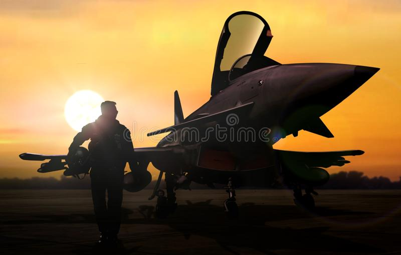 Military pilot and aircraft at airfield on mission standby. During sunset stock photography