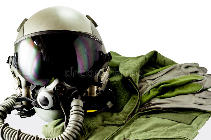 Military pilot flight suit. With pilot glove & Flight helmet with oxygen mask royalty free stock photo