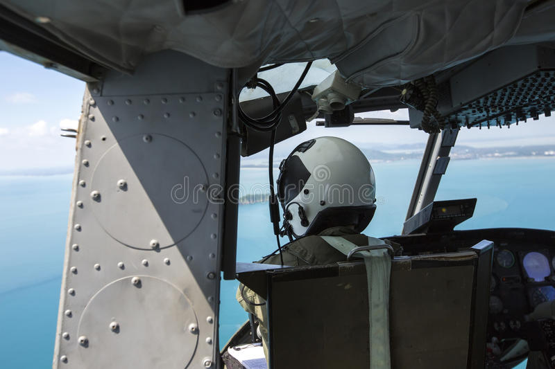 Military pilot on helicopter in thailand. Military pilot soldier on helicopter in thailand royalty free stock photos