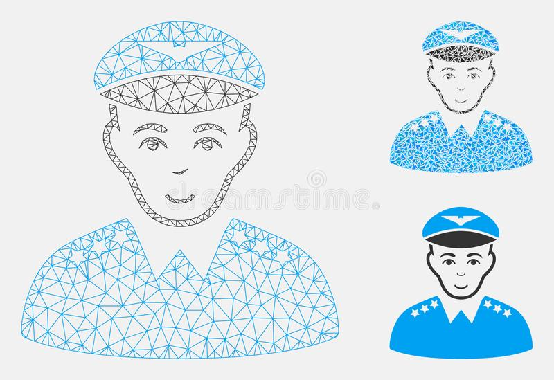 Military Pilot Officer Vector Mesh Network Model and Triangle Mosaic Icon. Mesh military pilot officer model with triangle mosaic icon. Wire frame triangular vector illustration