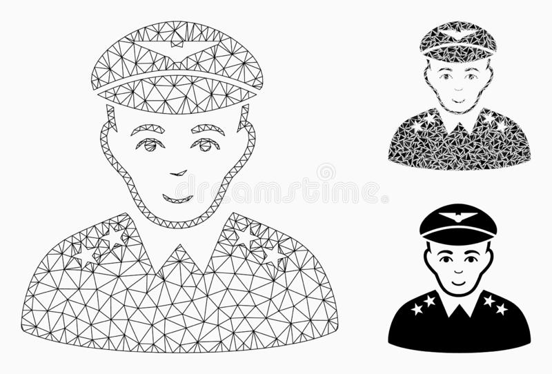 Military Pilot Officer Vector Mesh Wire Frame Model and Triangle Mosaic Icon stock illustration