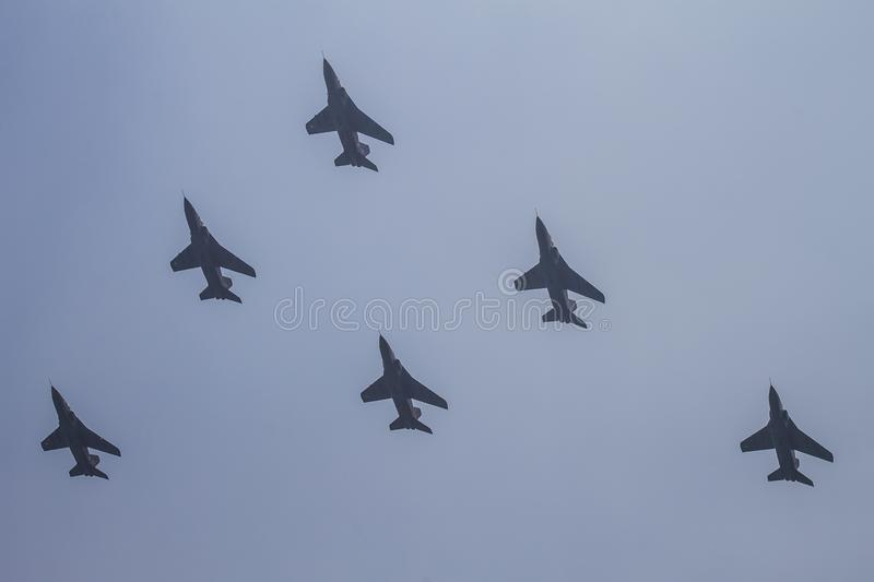 Military planes.Three MiG-29 jet fighter aircrafts. royalty free stock image