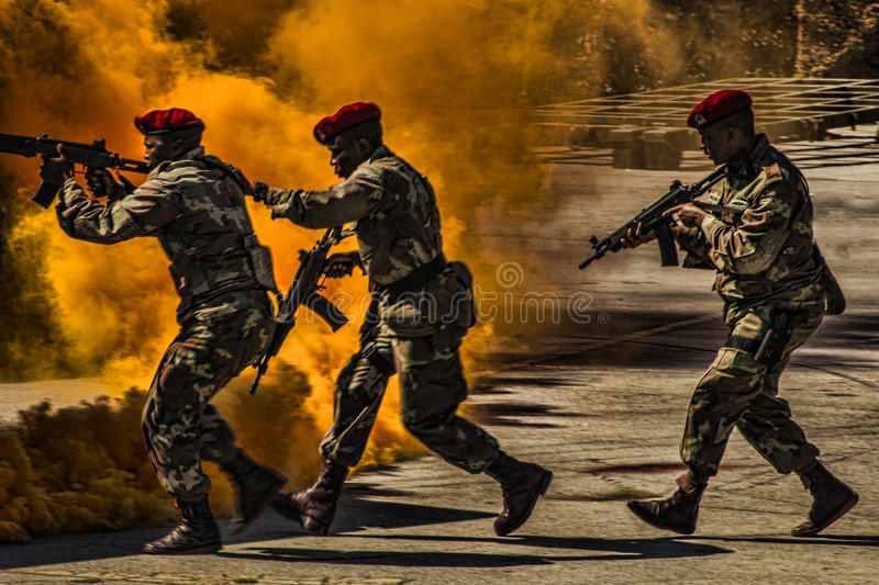 Military Police in Action. Armed Forced Day in South Africa 2016 royalty free stock image