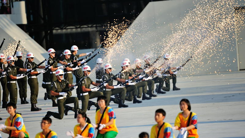 Military police performing precision drills stock images