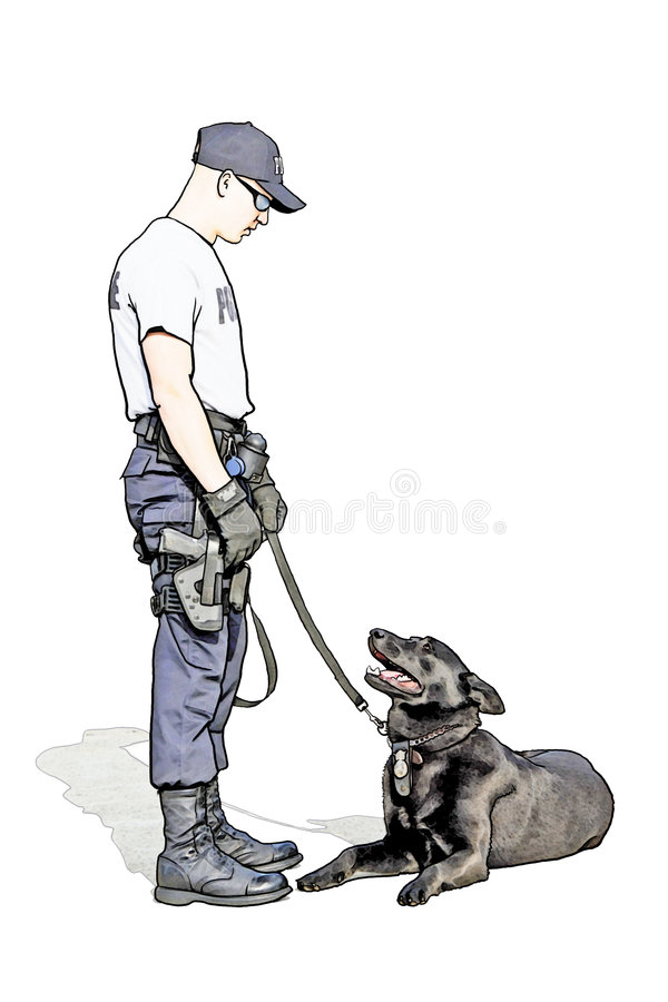 Military policeman with lab royalty free illustration