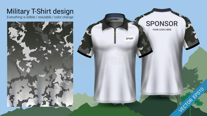 Military polo t-shirt design, with camouflage print clothes for jungle, hiking trekking or hunter, Vector eps10 file. Prepared to showcase your custom design stock illustration