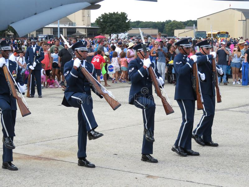 Military Precision. Photo of military drill team holding rifles with bayonets at andrews air force base in maryland during an air show on 9/16/17. These soldiers stock photography