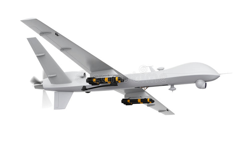 Military Predator Drone. Isolated on white background. 3D render royalty free illustration