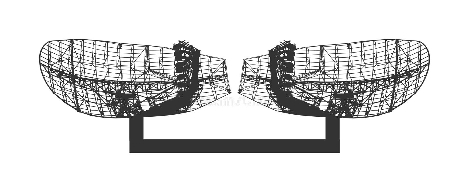 Military radar air surveillance vector silhouette isolated on white background. Telecommunication system. Digital antenna system. vector illustration
