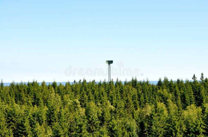 Military radar tower stock photo