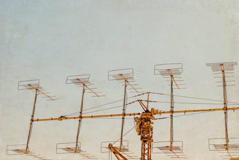 Military Radar under blue sky stock photo