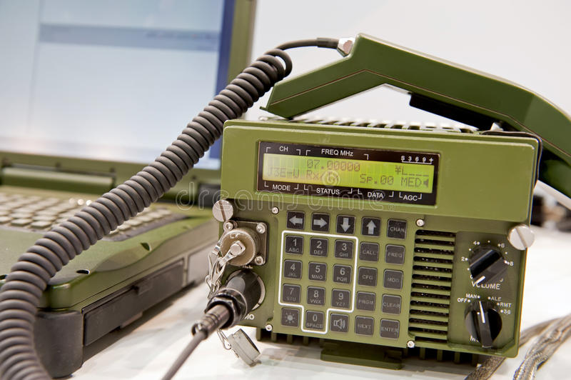 Military radio station. Details of the modern military radio station stock image