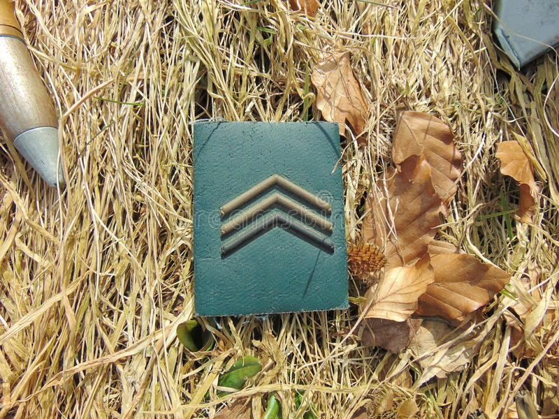 Military rank with ammunition from World War 2. Laying outside in straw royalty free stock photos