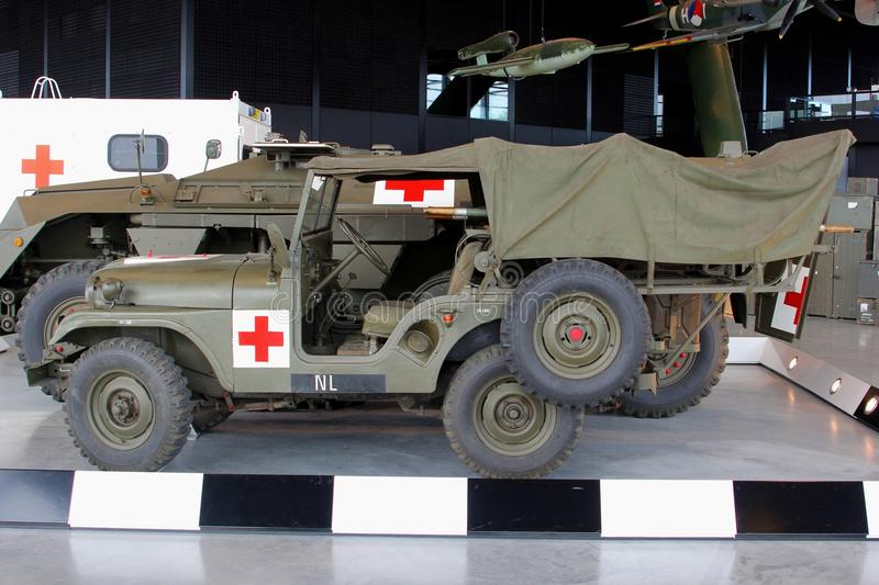 Military Red Cross ambulance jeep in the National Military Museum in Soesterberg, Netherlands. Military Red Cross ambulance jeep of the Second World War in the stock photography