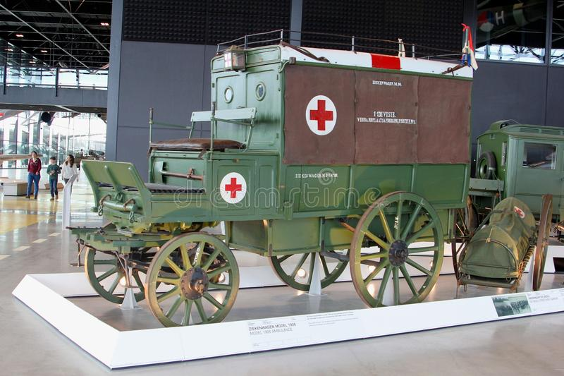 Red Cross ambulance carriage from 1906 in the National Military Museum in Soesterberg, Netherlands stock images
