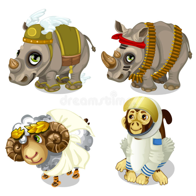 Military rhinoceros, sheep and monkey cosmonaut vector illustration