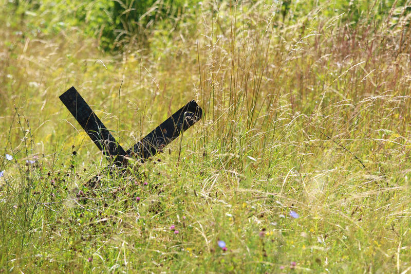 Military roadblocks in an overgrown meadow full of flowers stock photography