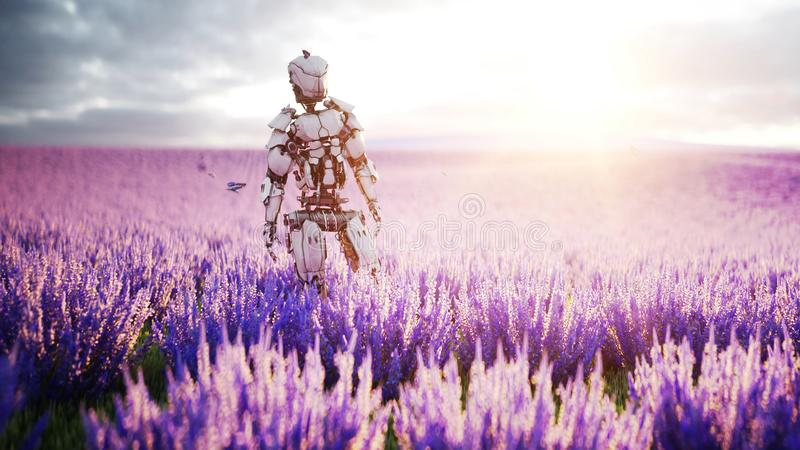 Military robot, cyborg with gun in lavender field. concept of the future. 3d rendering. royalty free illustration