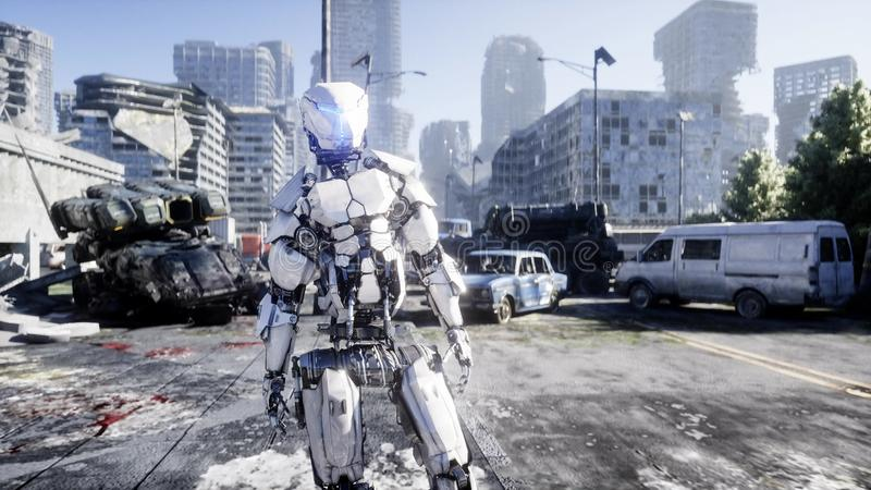 Military robot in destroyed city. Future apocalypse concept. 3d rendering. vector illustration
