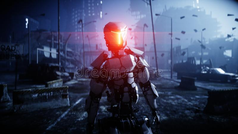 Military robot in destroyed city. Future apocalypse concept. 3d rendering. stock illustration