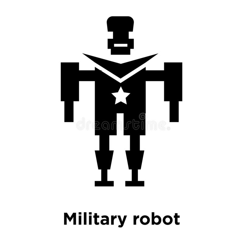 Military robot machine icon vector isolated on white background, logo concept of Military robot machine sign on transparent vector illustration