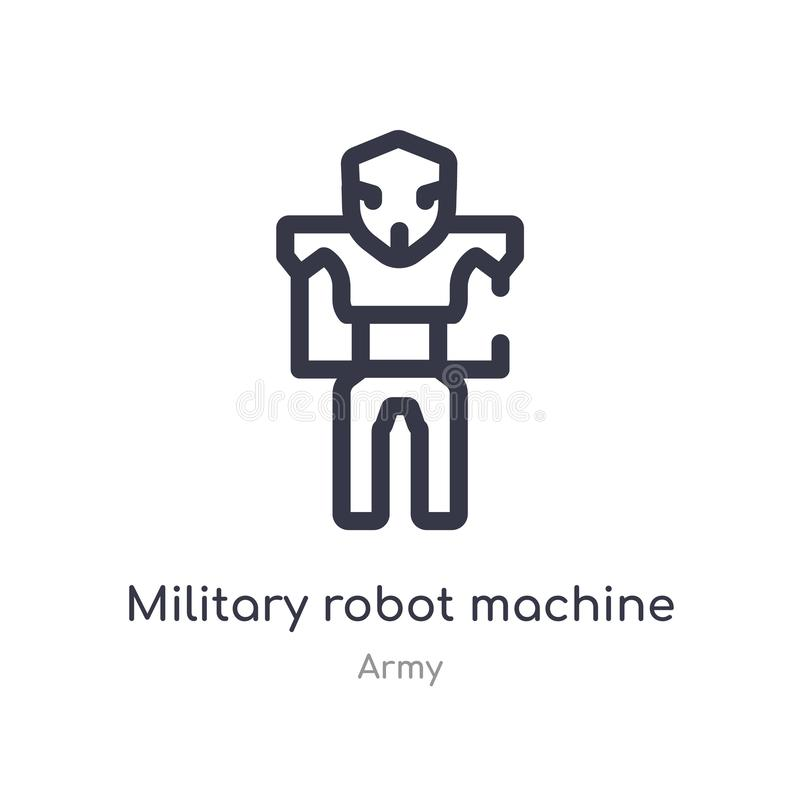 military robot machine outline icon. isolated line vector illustration from army collection. editable thin stroke military robot vector illustration