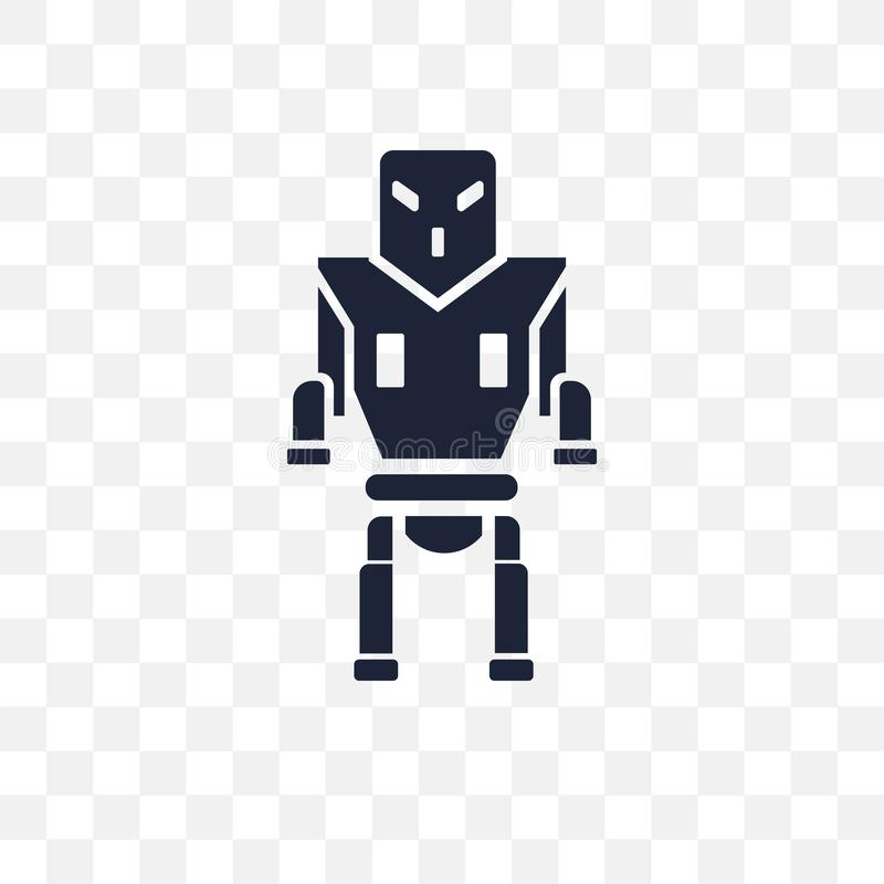 Military robot machine transparent icon. Military robot machine stock illustration