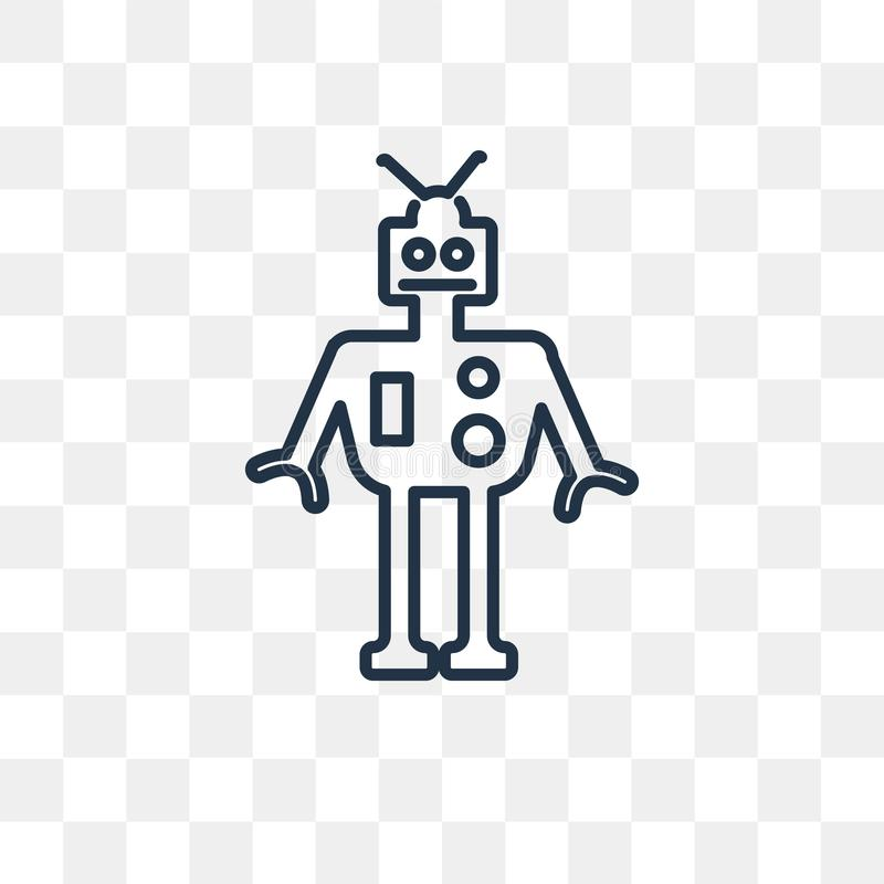 Military robot machine vector icon isolated on transparent backg stock illustration