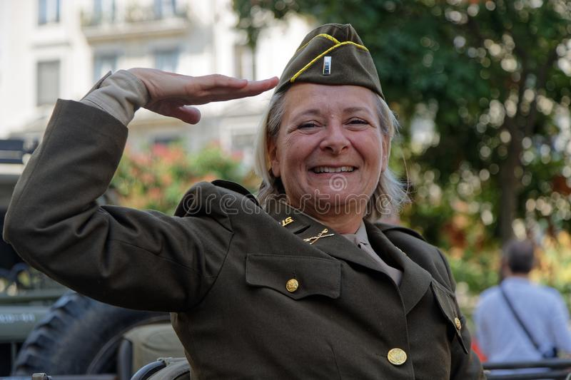 Military salute from a woman soldier stock images