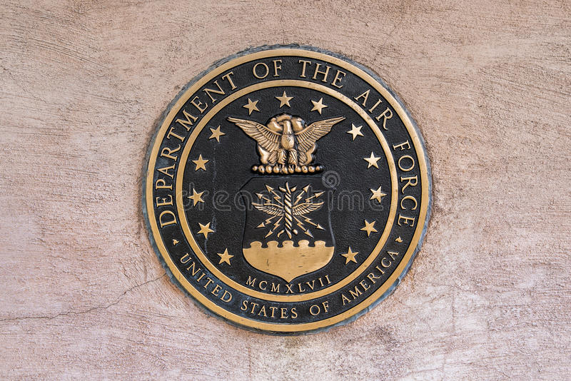 Military seal air force. United states us air force military seal set in stone stock image