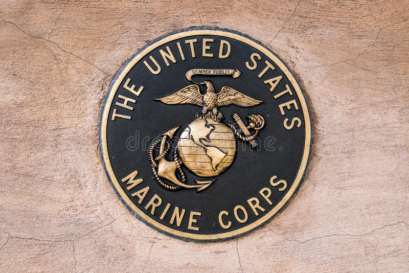 Military seal marine corps. United states us marines military seal set in stone stock image