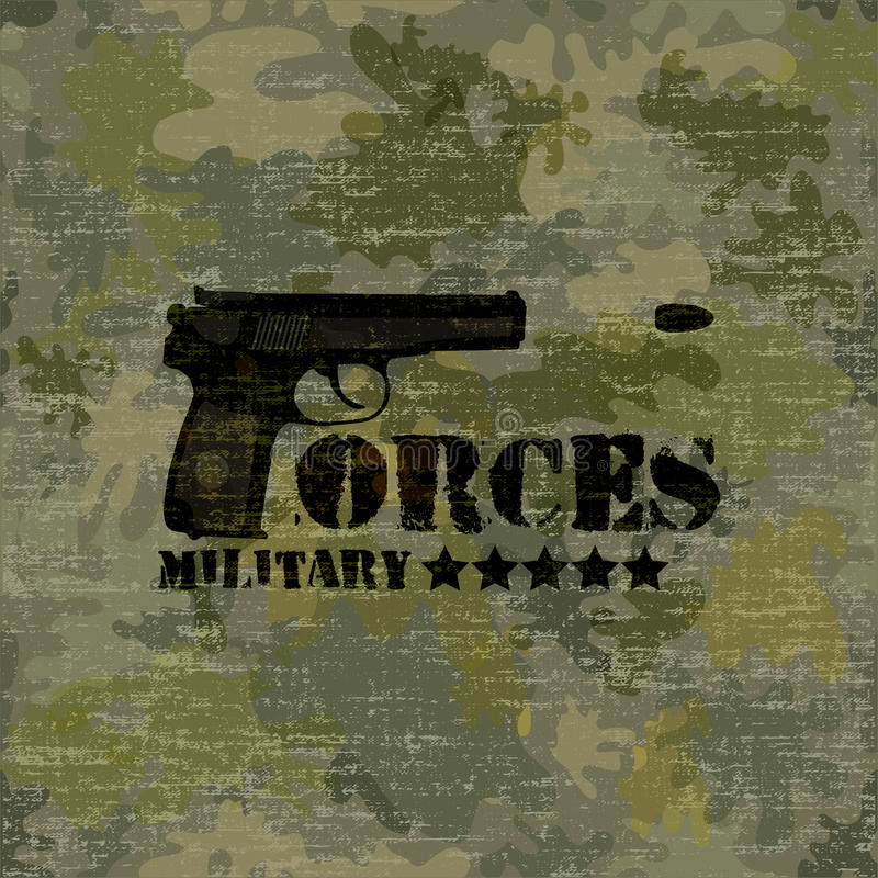 Military seamless background with text vector royalty free illustration